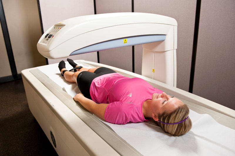 Woman getting a DXA scan