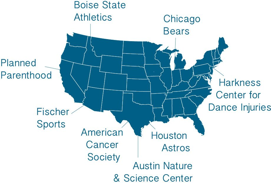 Map of the United States with text Planned Parenthood, Boise State Athletics, Chicago Bears, Harkness Center for Dance Injuries, Houston Astros, Austin Nature and Science Center, American Cancer Society, Fischer Sports